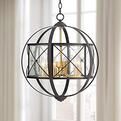 "Remy 20"" Wide Bronze and Brass Orb 6-Light Pendant Light"