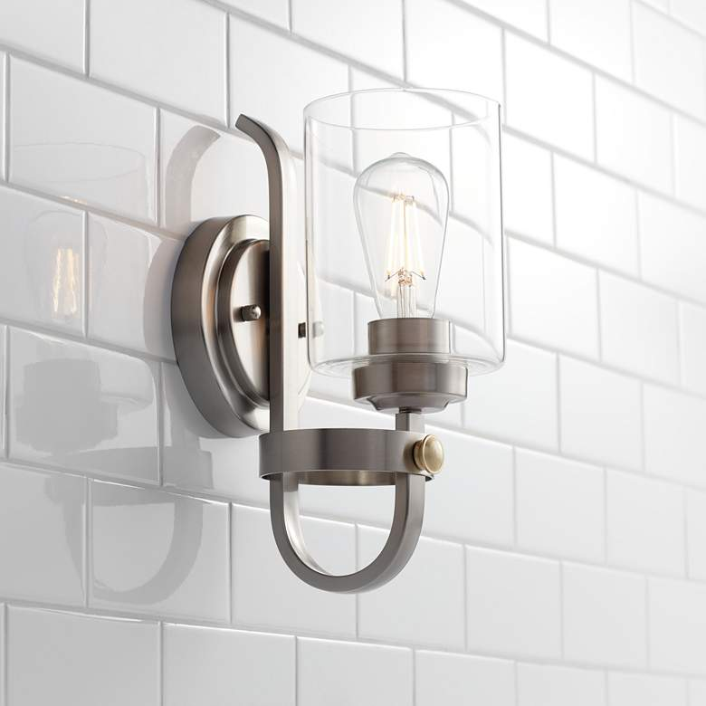 "Eagleton 12"" High Brushed Nickel LED Wall Sconce"