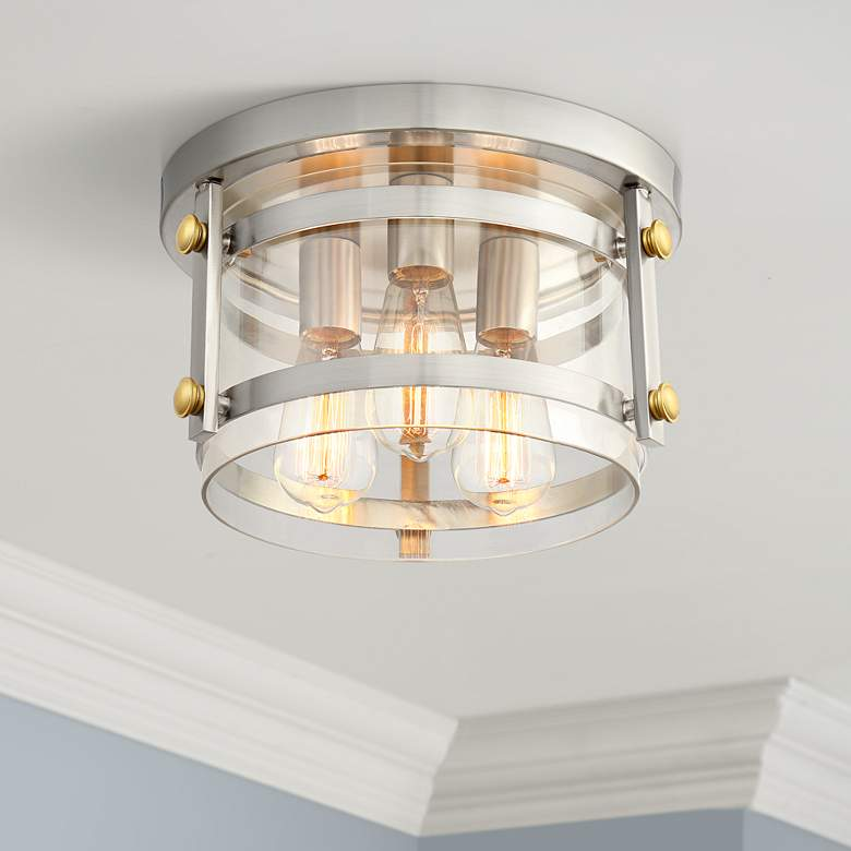 "Eagleton 13 1/2"" Wide Brushed Nickel LED Ceiling Light"