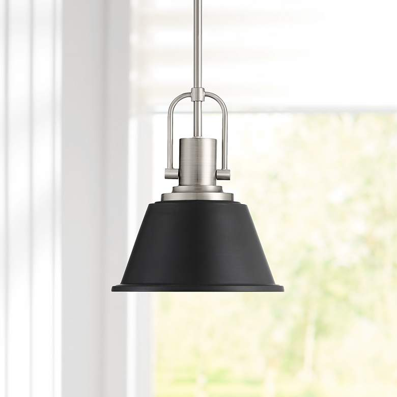 "Possini Euro Claira 9 1/2""W Black Metal Mini Pendant Light"