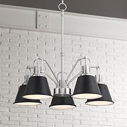 "Orleans 23""W Brushed Nickel and Black 5-Light Chandelier"