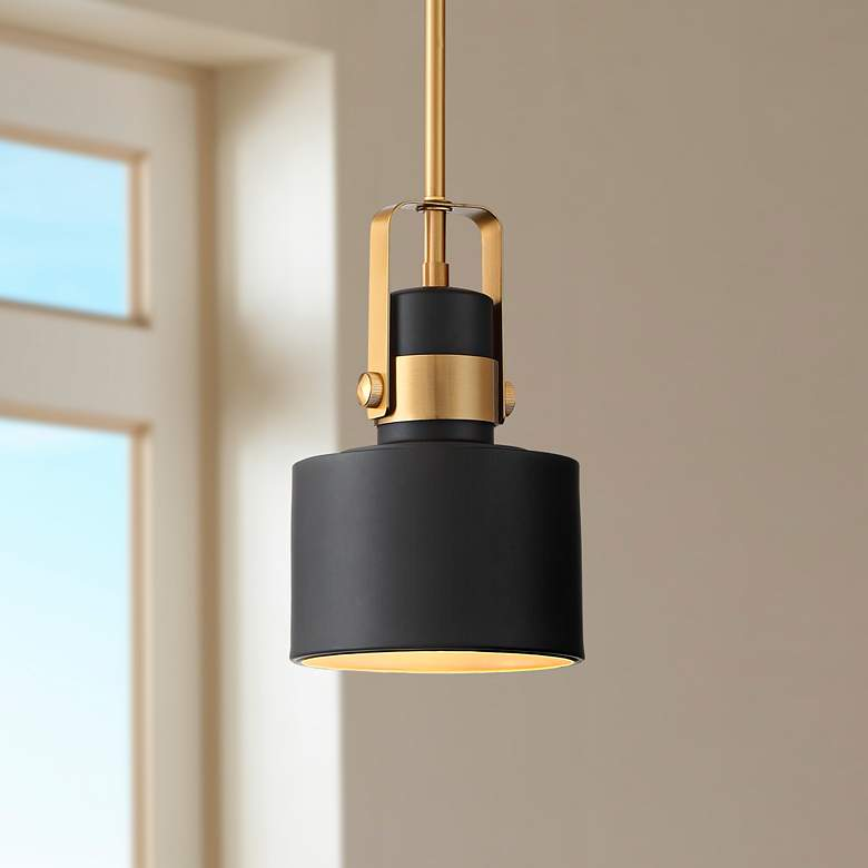 "Courtney 6 1/2"" Wide Black and Brass Mini Pendant Light"