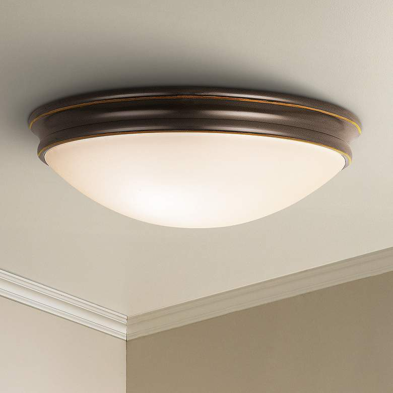"Atom 14""W Oil-Rubbed Bronze Ceiling Light with Opal"