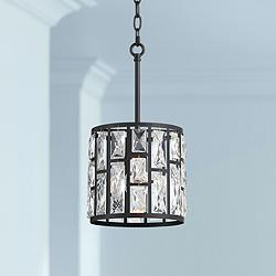 "Sofie 8 1/2"" Wide Black and Crystal Mini Pendant Light"