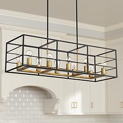 "Logan 40"" Wide Black and Brass 10-Light Island Chandelier"