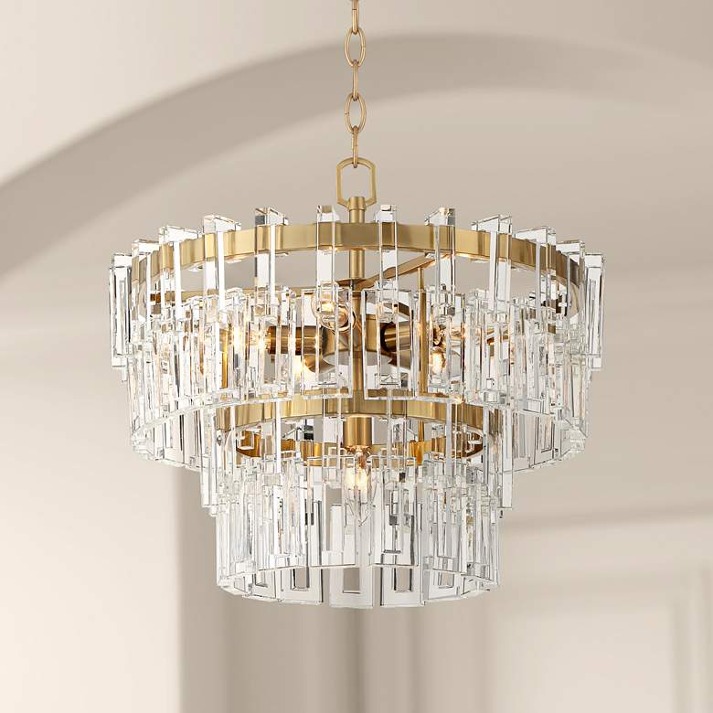 "Luxem 18 3/4"" Wide Burnished Brass and Crystal Pendant Light"