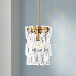 "Luxem 9 1/2"" Wide Brass and Crystal Mini Pendant Light"