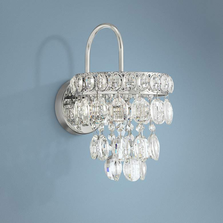 "Lila 12 1/2"" High Chrome and Crystal Wall Sconce"