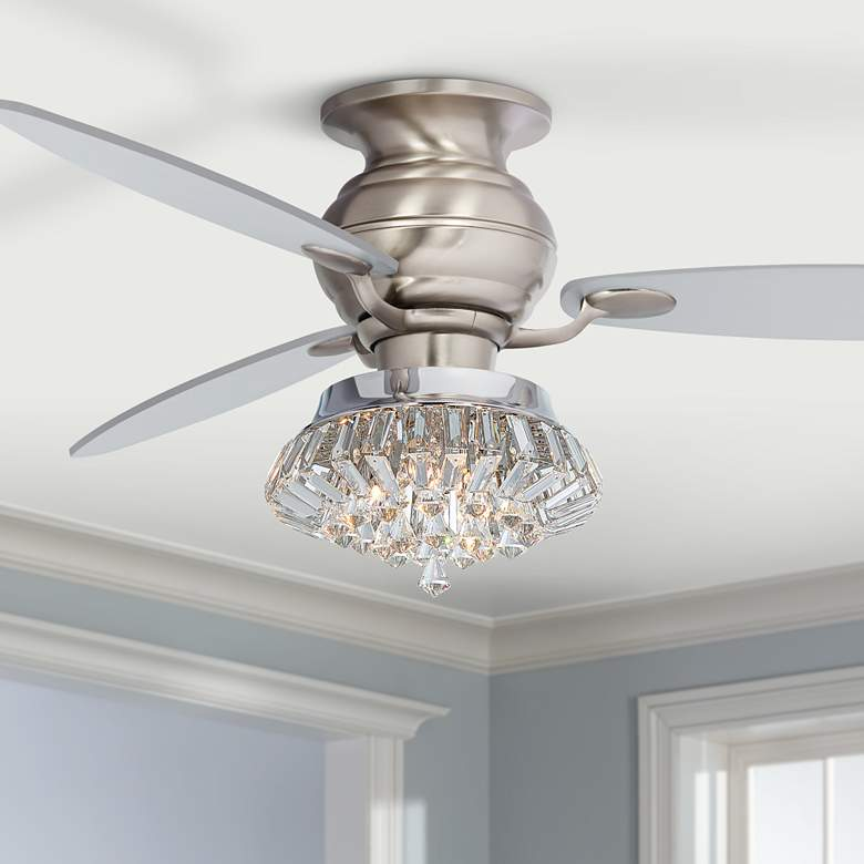 "60"" Spyder Deco Crystal LED Hugger Ceiling Fan"