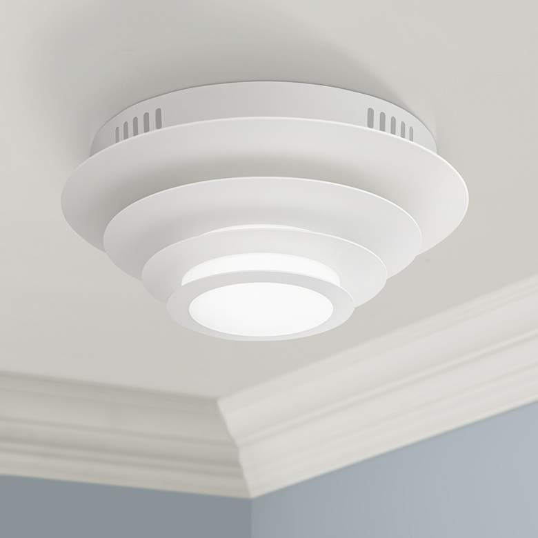 "Possini Euro Bedias 11""W White Multi-Tier LED Ceiling Light"