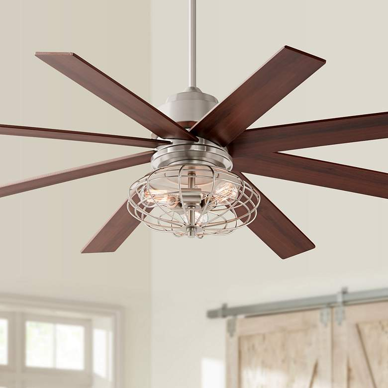 "60"" The Strand LED Brushed Nickel Ceiling Fan w/ Cage Lt Kit"