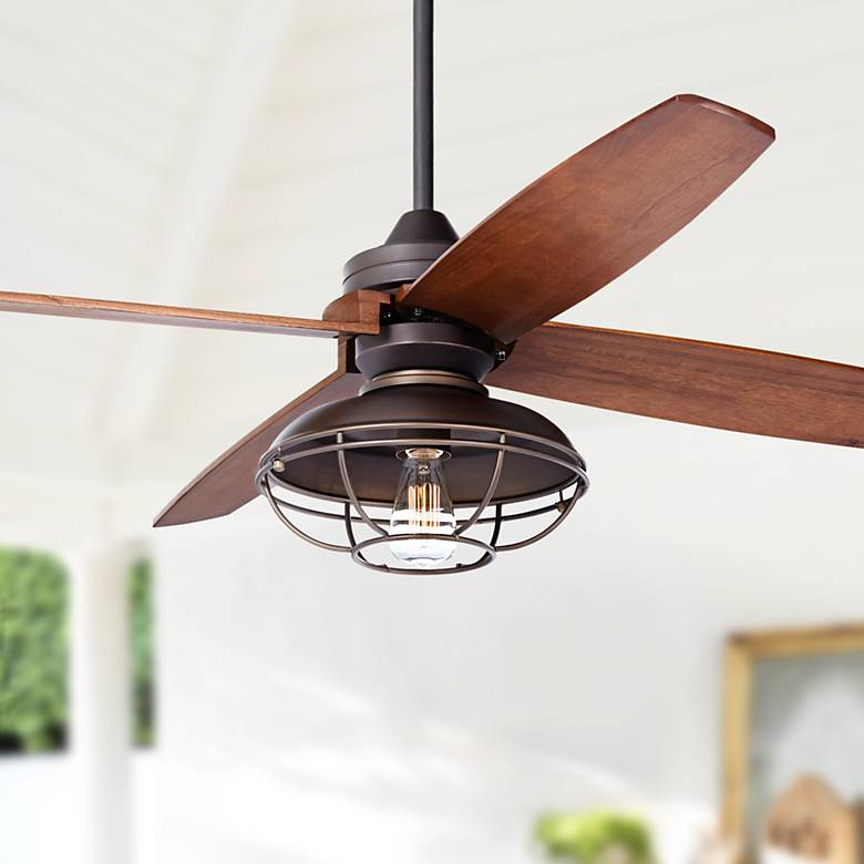 "52"" Casa Vieja Impel LED Bronze Damp Ceiling Fan"