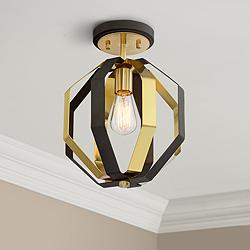 "Octo 11"" Wide Warm Gold and Bronze Ceiling Light"