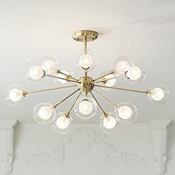 Possini Euro Design Glass and Brass 15-Light Ceiling Light