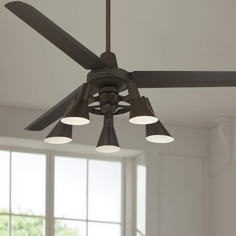 "60"" Casa Vieja Turbina DC Bronze LED Ceiling Fan"