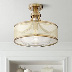"Possini Euro Layne 15"" Wide Brass Ceiling Light"