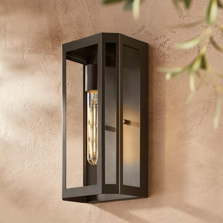 "Trystan 13"" High Bronze and Glass Outdoor Wall Light"