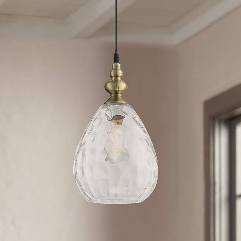 "Summerle 8 1/4""W Antique Brass Plated Glass Mini Pendant"