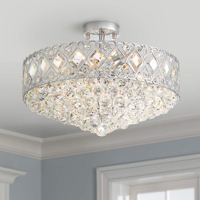 "Lozano 20"" Wide Chrome and Crystal 8-Light Ceiling"