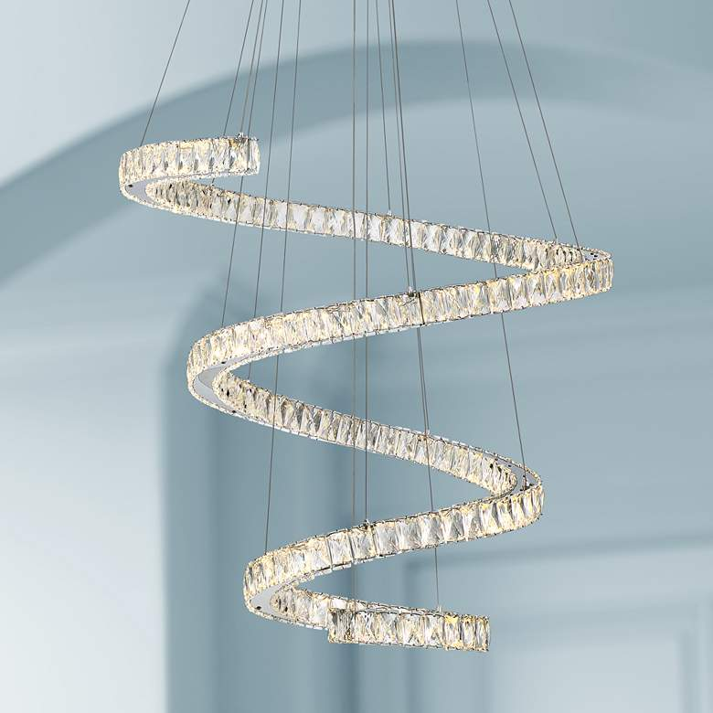 "Ellyria 30 3/4"" Wide Twirling Crystal LED Pendant Light"