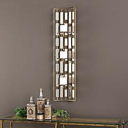 "Loire 38""H Gold Iron with Mirror Candle Holder Wall Sconce"
