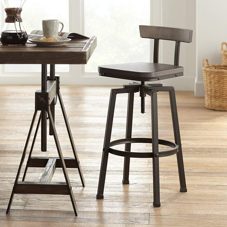 Roark Gray Wood and Bronze Adjustable Swivel Barstool
