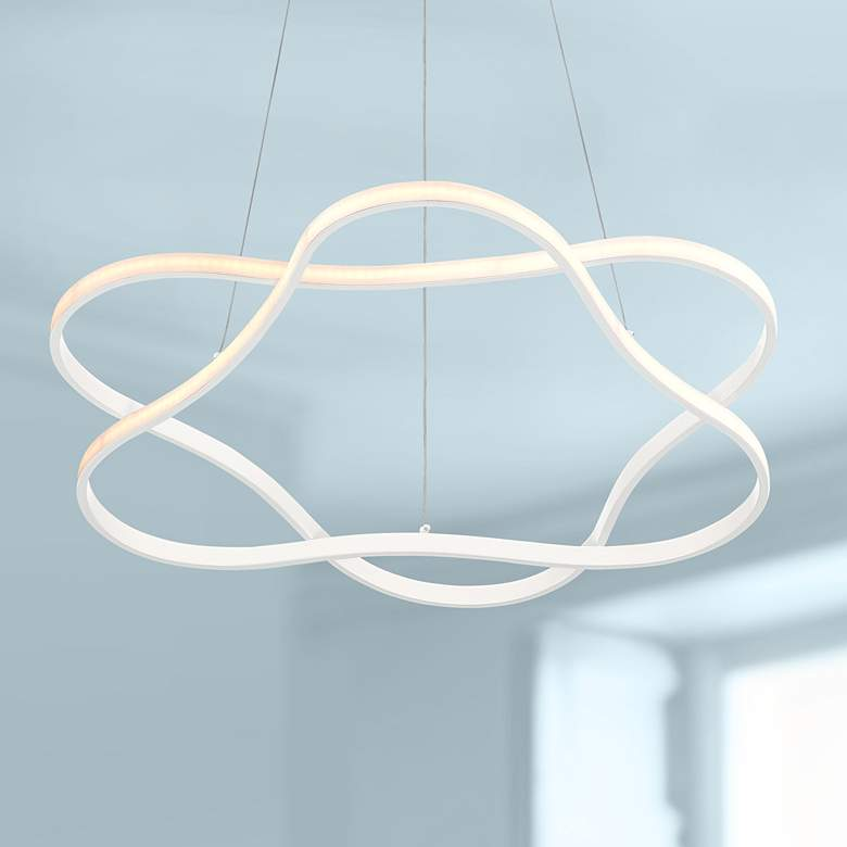 "Possini Euro Venice 24 3/4"" Wide White 2-Ring LED Pendant"