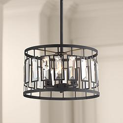 "Malora 15"" Wide Black 4-Light Drum Pendant Light"