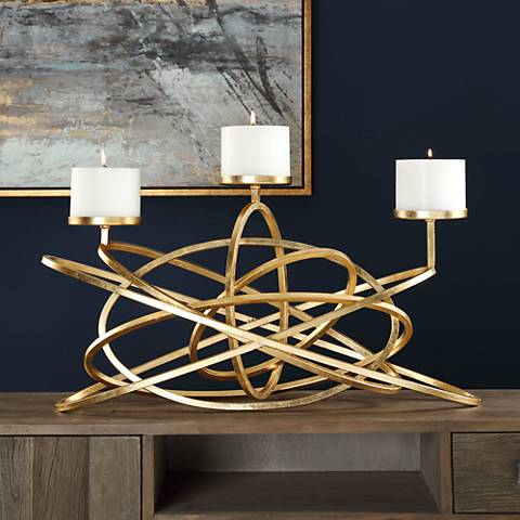 Uttermost Mishka Metallic Gold Leaf Candelabra Candle Holder