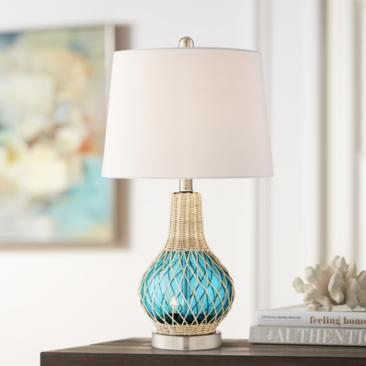 Alana Blue Glass Accent Table Lamp with Night Light