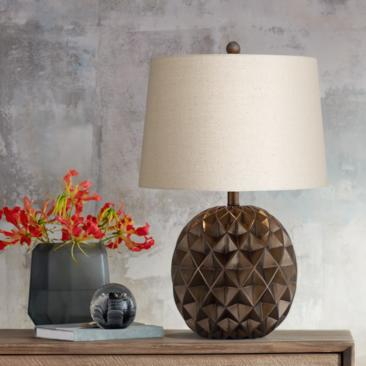 Selena Sphere Diamond-Patterned Brown Accent Table Lamp