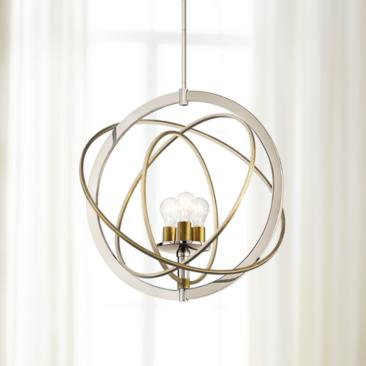 "Ibis 22 1/2"" Wide Polished Nickel and Brass 3-Light Pendant"