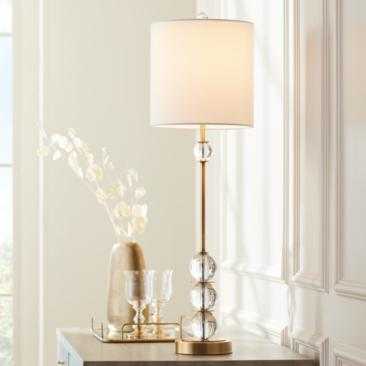 Halston Brass Metal Buffet Table Lamp with Crystal Accents