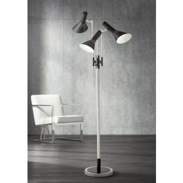 Possini Euro Halifax 3-Light Nickel and Black Floor Lamp