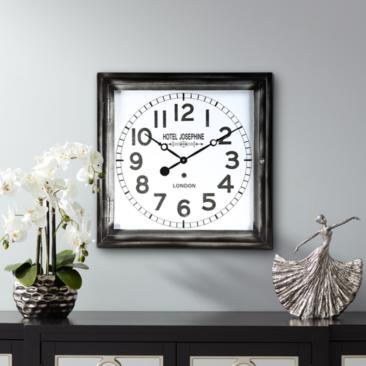 "Hotel Josephine 23 3/4"" Wide Square Metal Wall Clock"