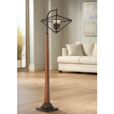 Trevor Farmhouse 4-Light Floor Lamp with Edison Bulbs