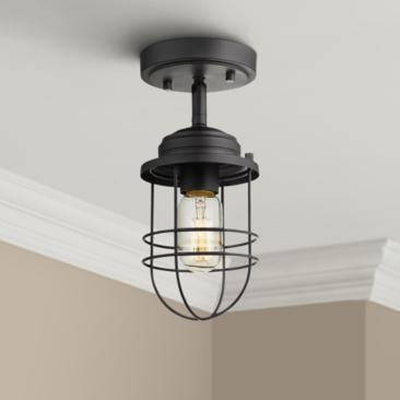 "Seaport 4 3/4"" Wide Black Convertible Pendant/Ceiling Light"