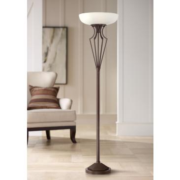 Volero Oil-Rubbed Bronze Light Blaster Torchiere Floor Lamp