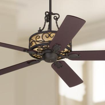 "60"" John Timberland Natural Mica Iron LED Ceiling Fan"