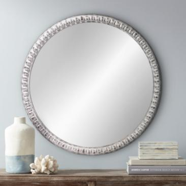 "Jamie Young Audrey White Wood Beaded 30"" Round Wall Mirror"