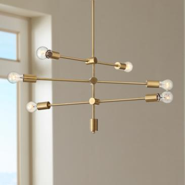 "Possini Euro Morse 27"" Wide Brass 6-Light Pendant Light"