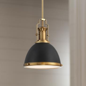 "Memphis 9 3/4"" Wide Black and Burnished Brass Mini Pendant"
