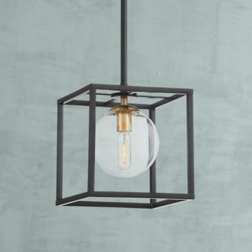 "Delaney 8"" Wide Black Open Square Mini Pendant Light"