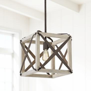 "Oaklyn 14"" Wide Rust and Gray Wood LED Pendant Light"