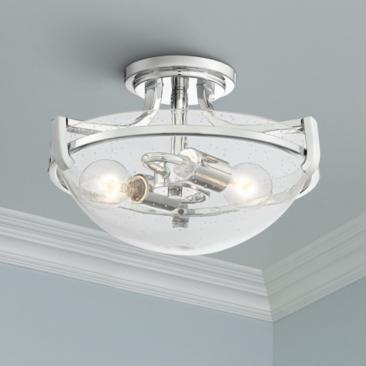 "Mallot 13"" Wide Chrome and Clear Seedy Glass Ceiling Light"
