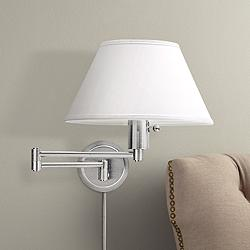 Satin Nickel Round Backplate Plug-In Swing Arm Wall Lamp