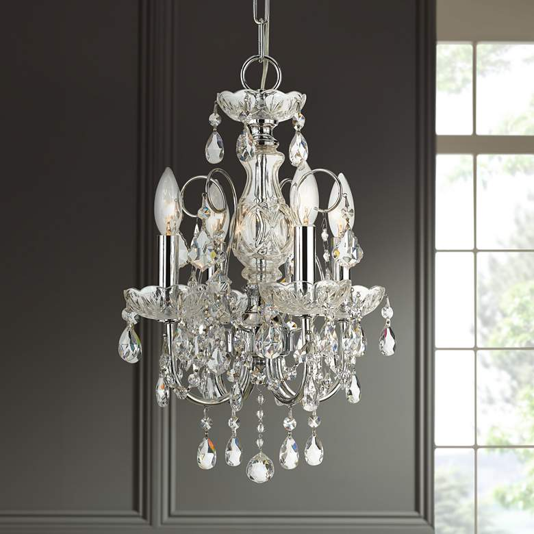 "Imperial 12"" Wide Polished Nickel 4-Light Mini Chandelier"