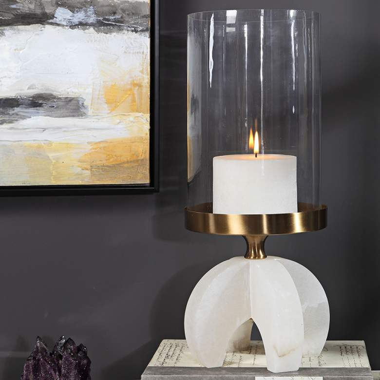 Alanea Brushed Brass and Alabaster Pillar Candle Holder