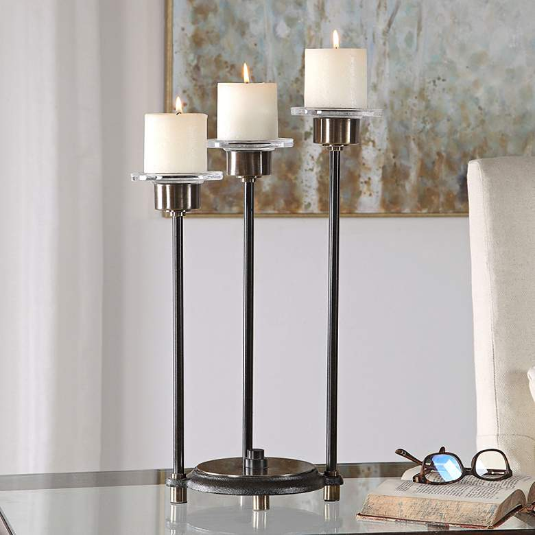 "Amal 18 3/4"" High Oil-Rubbed Bronze Pillar Candle Holder"