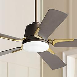 "54"" Casa Vieja Desteny Bronze and Soft Brass LED Ceiling Fan"